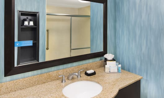 King Bathroom with Vanity, Mirror and Shower