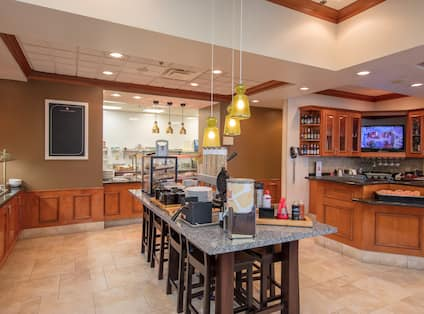 Breakfast Buffet Area with Food Serving Table