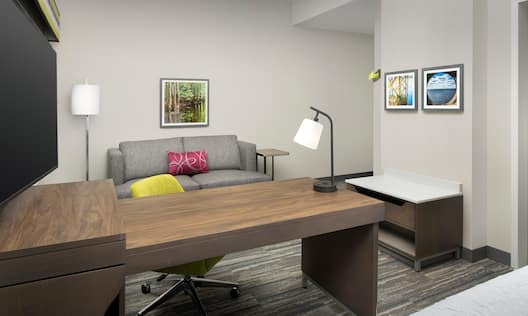 Sofa Desk and HDTV in Guest Room