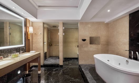 Diwan Bathroom Suite with Tub, Mirror, Shower, and Sinks