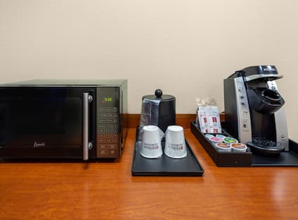In Room Coffee Maker and Microwave