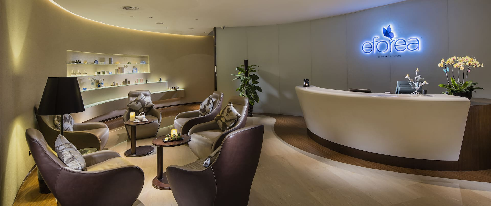 View of spacious, modern and bright SPA decorated in neutral tones