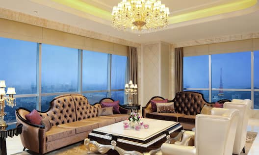 Decorative Sofas and Coffee Table in Presidential Suite Living Room