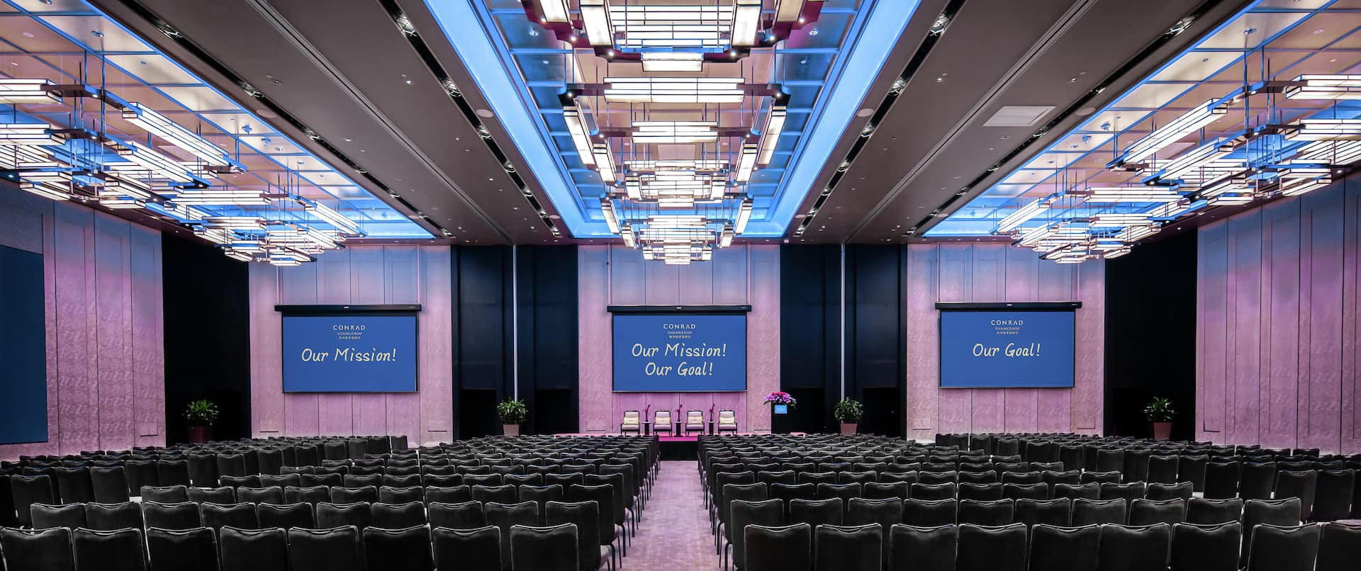 Ballroom with chairs and projectors