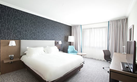 Deluxe Guest Room with Large Bed HDTV and Desk Area