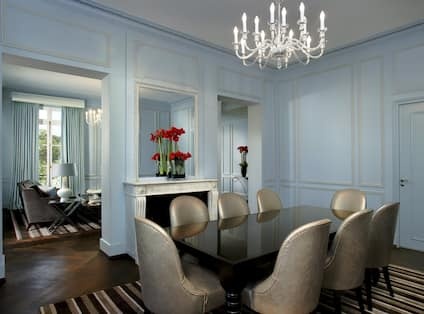 Versailles Suite dining table with seating for eight and fireplace