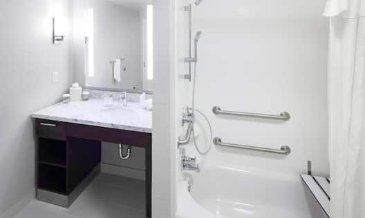 ADA Bath Tub with Handles and Shower