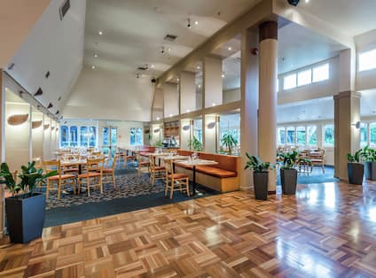 tables in a restaurant dining room