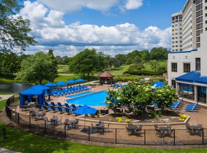 Outdoor pool with seating area