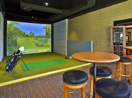 Golf Simulator Set-Up and Tall Tables