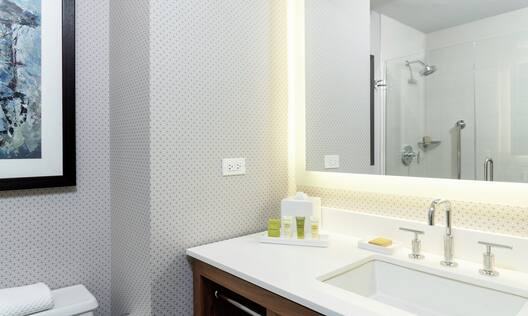 Spacious Guest Room Bathroom with Well-Lit Vanity