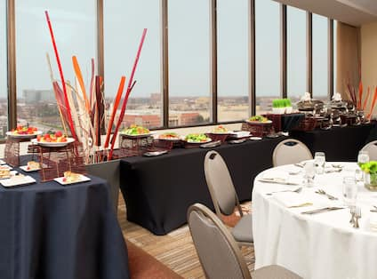 Food Service and Dining Tables in Ballroom With View