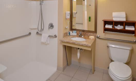 Accessible Guest Bathroom with Roll-In Shower, Vanity and Toilet