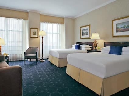 Guestroom with Double Queen Beds and Lounge Area
