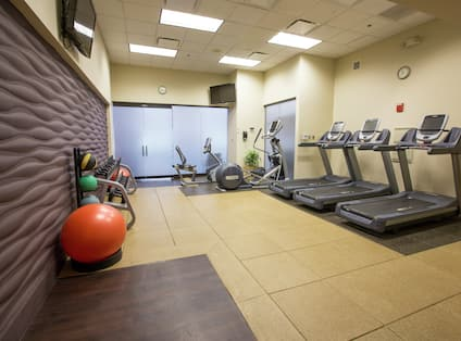 Fitness Center With TVs, Red Stability Ball, Weight Balls, Free Weights, and Cardio Equipment