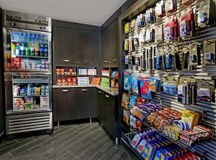 snack shop with various snacks and drinks