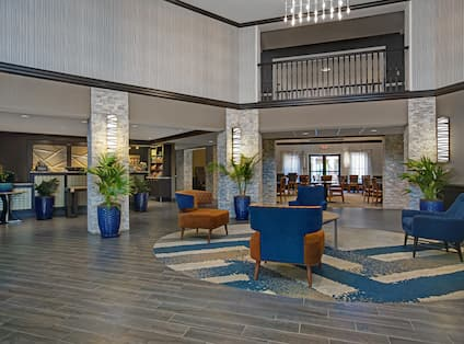 lobby front desk and seating area