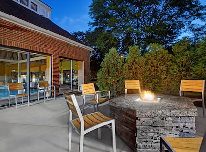 exterior patio with firepit