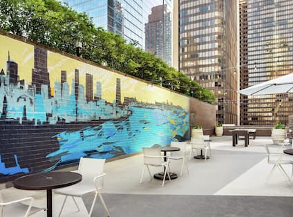 Rooftop Patio with Seating and Umbrellas