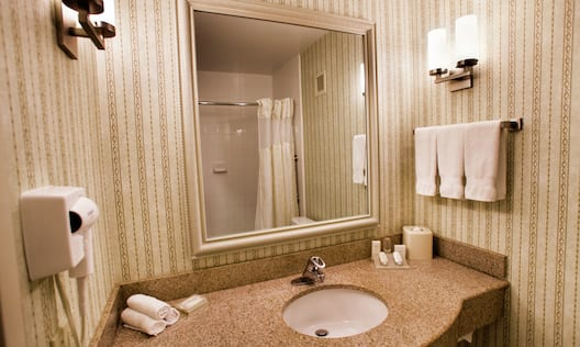 Accessible Bathroom Vanity Area with Hairdryer and Other Amenities