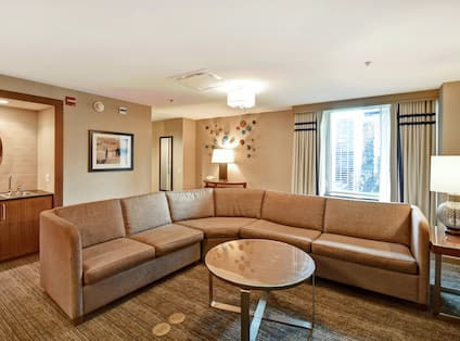 Living area with couch and table