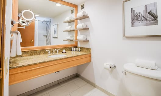 Bathroom with vanity mirror, sink, toilet, and bathroom amenities