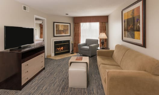 Cozy Living and Lounge Area with Sofa, HDTV, and Fireplace