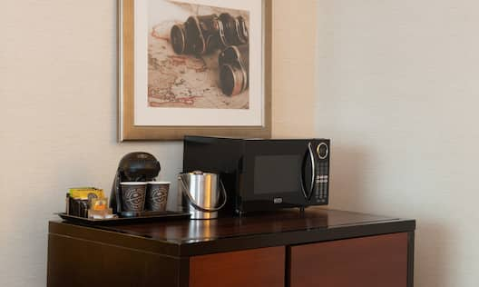 Amenities Cabinet with Coffee Maker, Ice Bucket and Microwave Oven