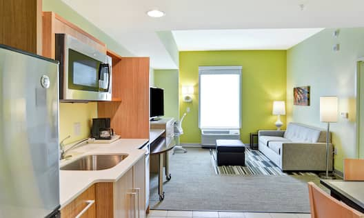 Kitchen and Living Area in One Bedroom Suite