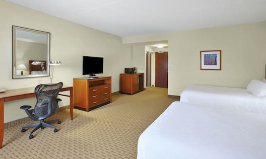 Accessible Queen Guestroom with Two Beds, Work Desk, and Room Technology