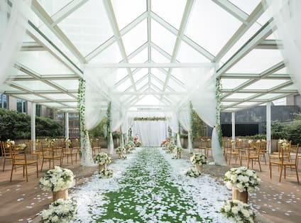 Covered Terrace Setup for a Wedding