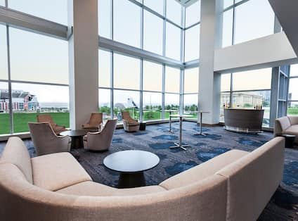 View of a reception area with large windows