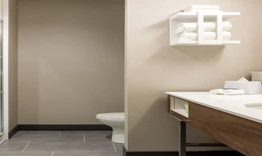 Accessible Guest Bathroom Vanity with Amenities and Shower