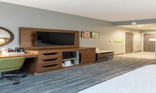 Accessible Queen Guest Room with Work Desk and Television