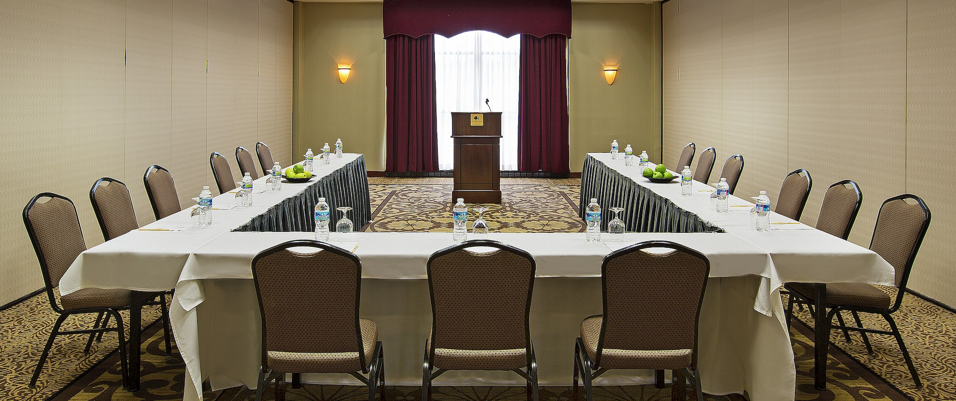 Meeting Room With U-Shaped Table and Podium