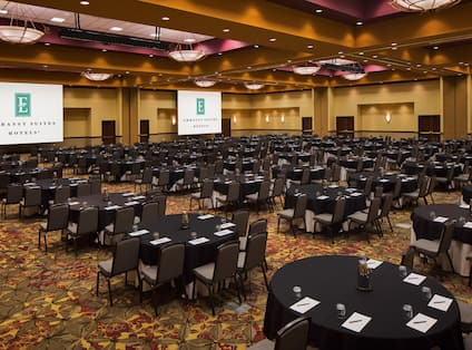 Ballroom Set Up for Large Event with Round Tables