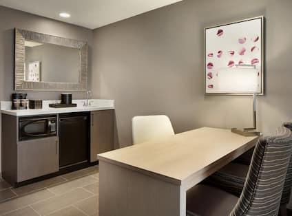 Guest Suite Work Desk and Beverage Station
