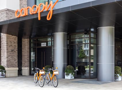 Hotel entrance with bicycles