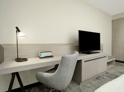 Room with TV and Work Desk