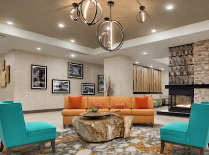 Colorful Lobby and Soft Seating Area