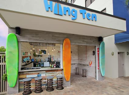 a surfing themed outdoor bar