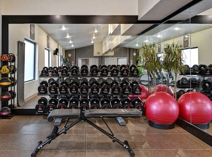 Weights and Exercise Balls in Fitness Center