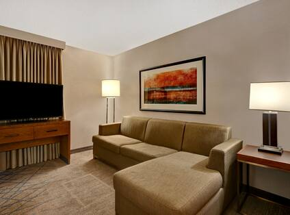 Living Area with Large Sofa and HDTV