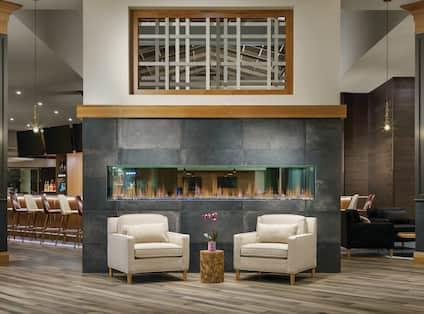 Lobby Seating beside Modern Fireplace