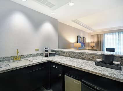 Bar area in room with sink