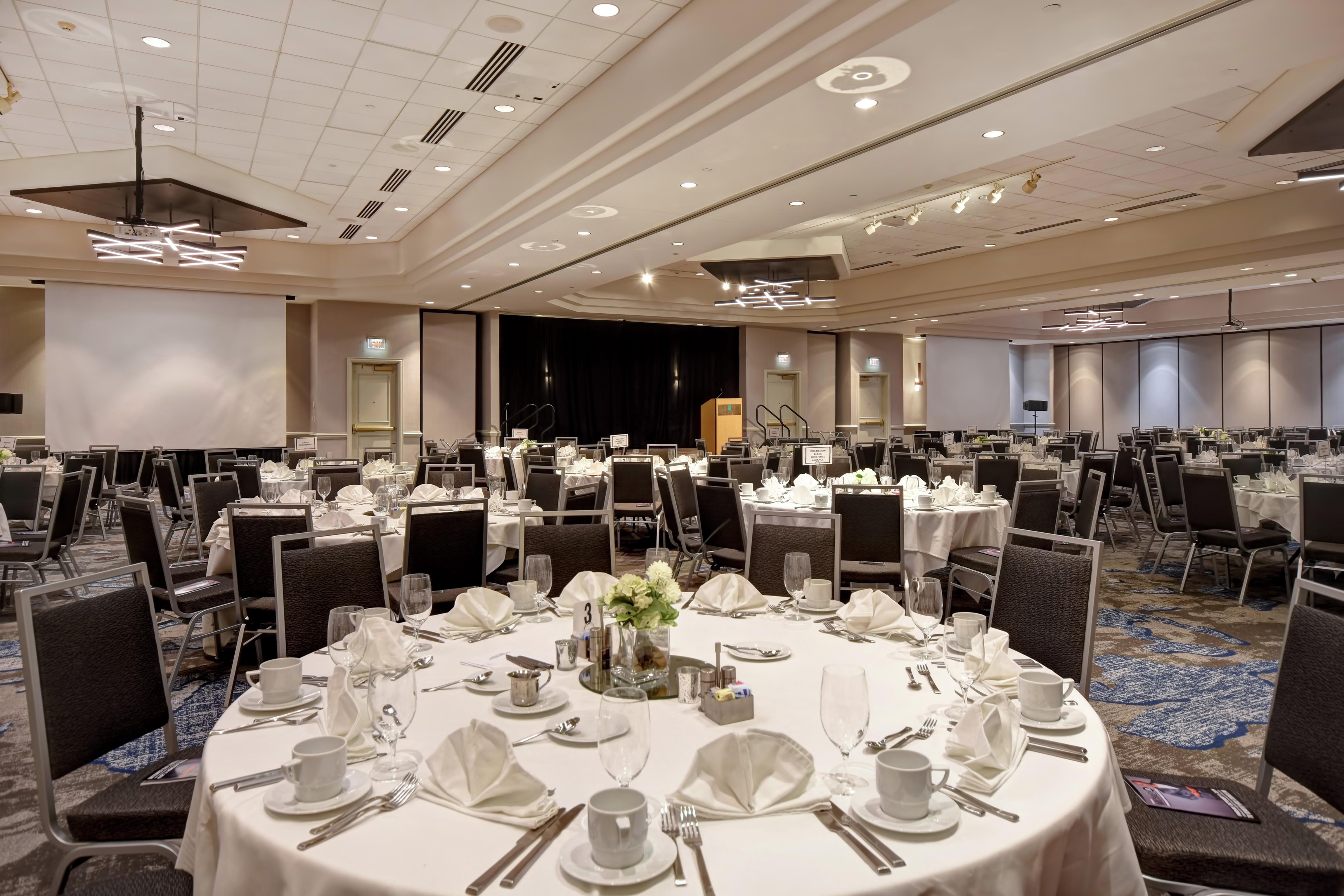 Grand Ballroom Banquet Setup with Projectors