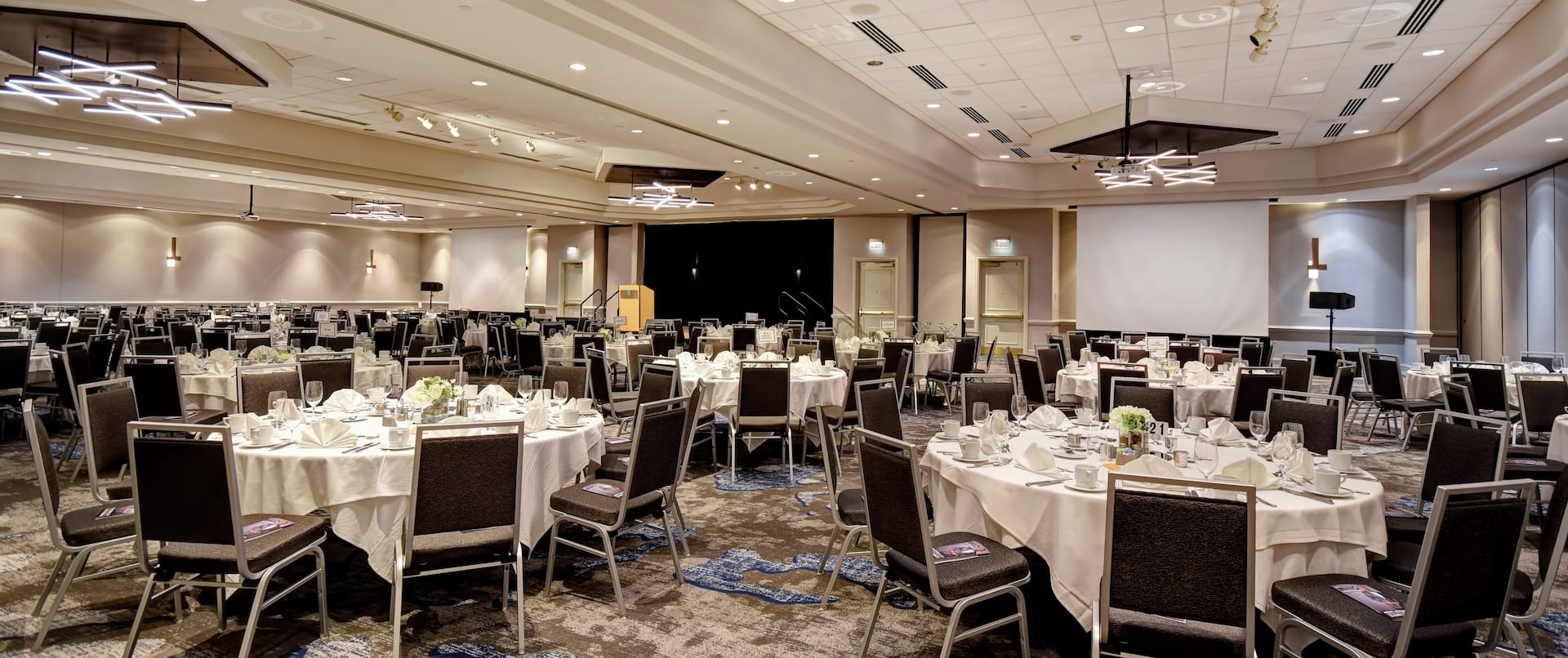 Grand Ballroom with Banquet Setup and Projectors
