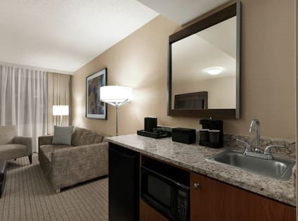 King Suite with Lounge Area, Sink, Mirror, and Room Technology