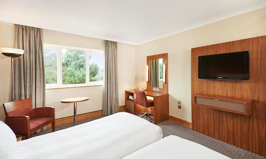 Twin Room with Desk, Wall Mounted TV and Chair