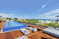 Rooftop outdoor swimming pool and seating